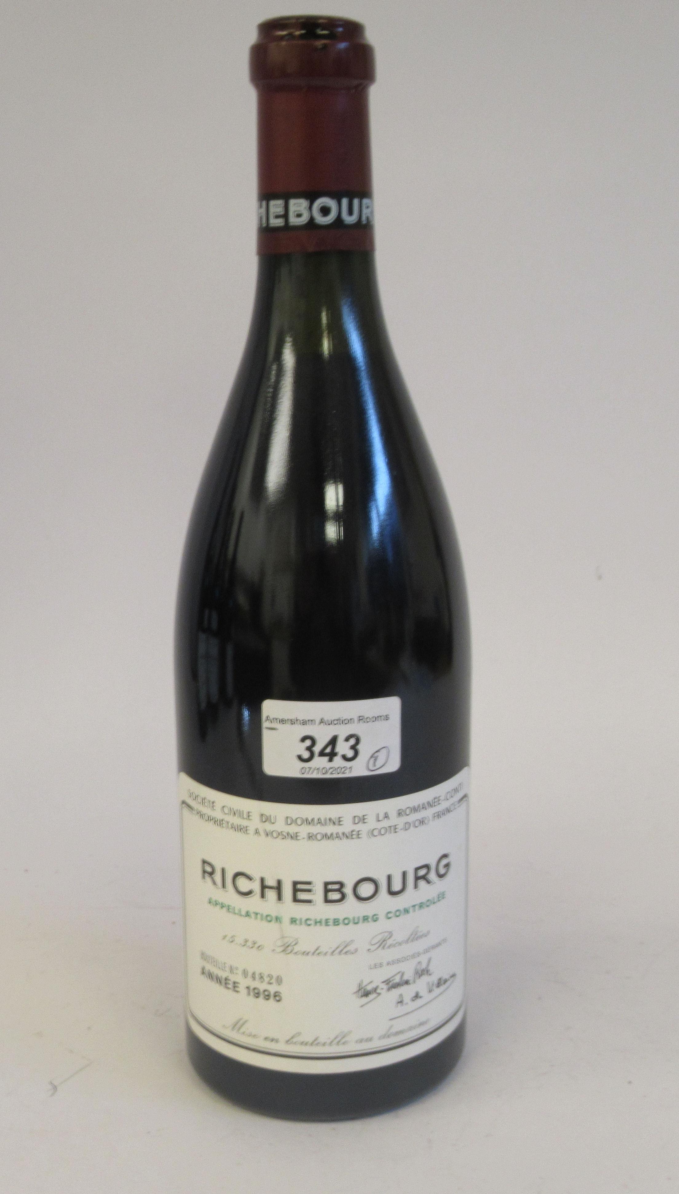 Wine, a bottle of 1996 Richebourg Domaine De La Romanee-Conti (bottle number 04820)