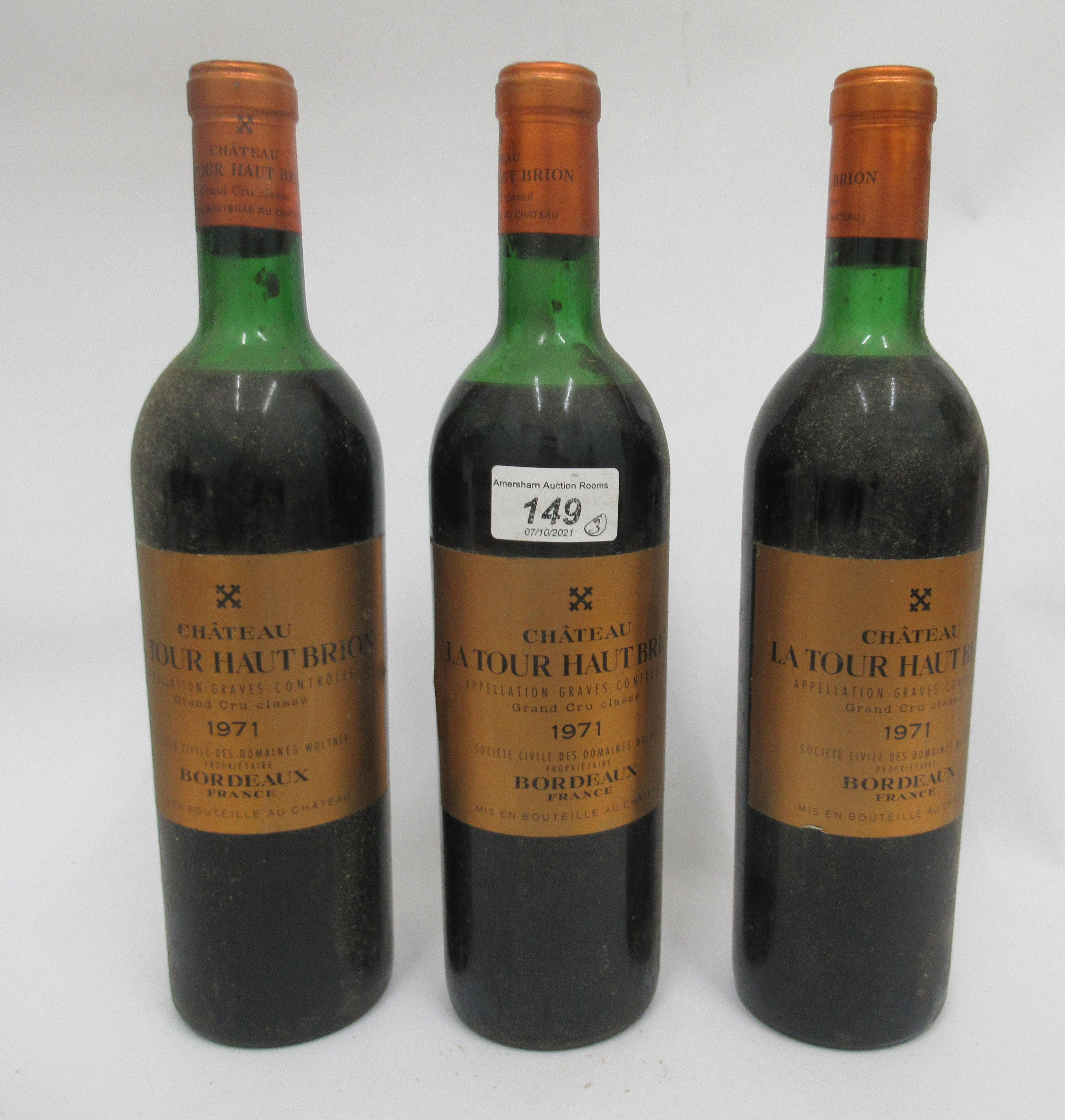 Wine, three bottles of 1971 Chateau La Tour Haut Brion