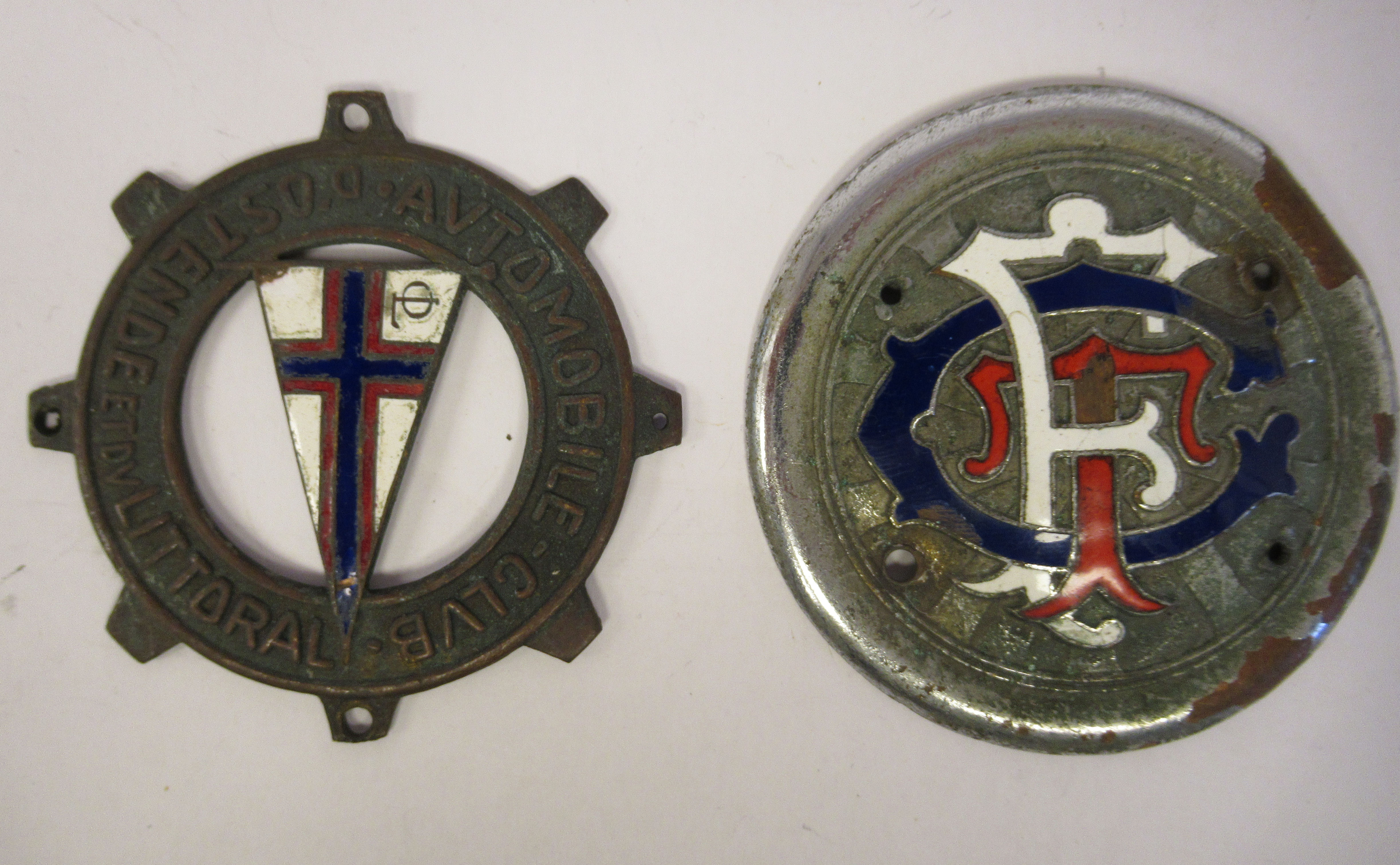 Five early 20thC Continental European coloured enamel motoring related badges; and a car mascot - Image 5 of 7