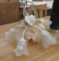"""A shabby chic five branch hanging centre light with foliate ornament 17""""drop 22""""dia"""