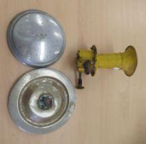 "Vintage motor accessories, viz. a mustard coloured painted horn; an Austin hub cap 8""dia; and a"