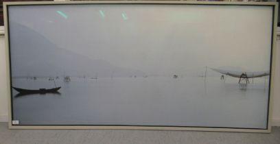 "An Asian shoreline coloured photographic print 29"" x 61"" framed"