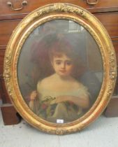 """Late 19thC British School - a head and shoulders portrait, a young girl oil on canvas 23'' x 18.5"""""""