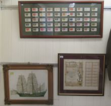 """Three nautically themed studies; Players cigarette cards 10"""" x 28""""; 'The Mayflower' coloured print"""