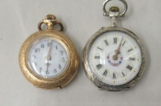 Two ladies' fob watches, viz. one with an enamelled and engraved 14ct gold case, faced by an