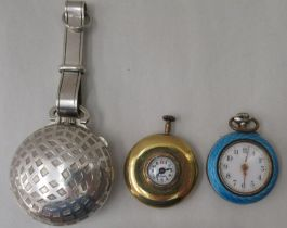 A Mayer Swiss made yellow metal cased watch, faced by an Arabic dial; a ladies engine turned,