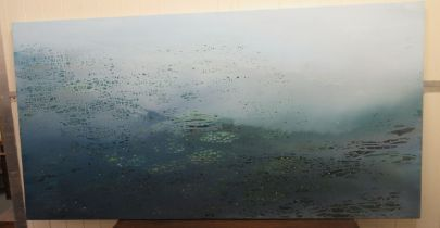 "Luke Elwes - 'Aquaterra' oil on canvas bears a signature, a title verso & dated 2021/13 36"" x 70"""