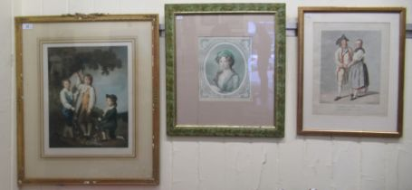 """Three 19thC coloured engravings: to include three children playing in an orchard 12"""" x 15"""" framed"""