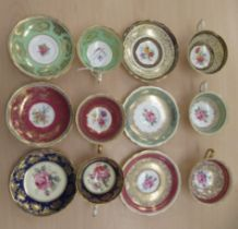 A set of six Paragon china cups and saucers, each decorated with floral designs and gilding with