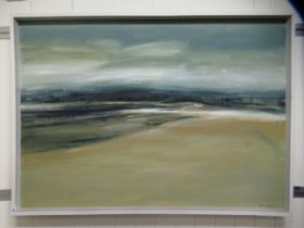 Peter Downing - 'Swansea Bay' oil on board bears a signature, an exhibition label verso & dated '