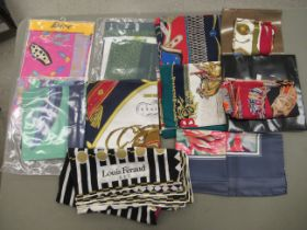 Designer and other fashion scarves and wraps: to include Hermes, Pierre Cardin, Mary Quant