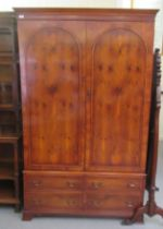 A modern reproduction of a 19thC yewwood finished linen press, comprising a pair of doors, enclosing