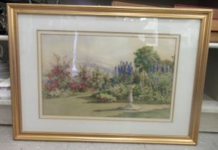 Ella Du Cane - Delphiniums and Crimson Rambler in a garden setting watercolour bears a