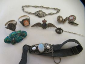 A silver and coloured enamel RAF wings badge; and other items of personal ornament