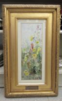 """Constance Coxeter - 'In the fields' watercolour bears initials & inscriptions verso 13.5"""" x 5"""""""