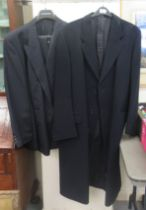 A gentleman's Jaeger dark blue cashmere full-length coat size 56; and a Jaeger two piece suit,