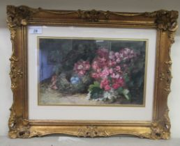 """Juliet Knowles - 'Birds Nest among Hawthorne' watercolour bears initials 8"""" x 13"""" framed"""
