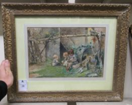 """A Orselli - little children by a potting shed watercolour bears a signature 9"""" x 13"""" framed"""