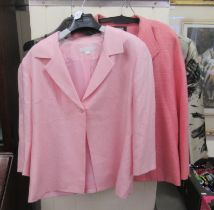 Ladies fashion: to include a Jean Muir pink mixed woollen suit jacket size 16; a Tina Taylor suit