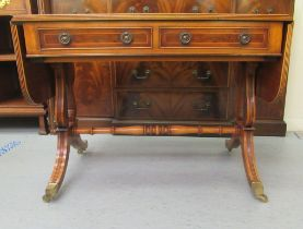 A modern reproduction of a 19thC yewwood finished sofa table with two inline drawers and two