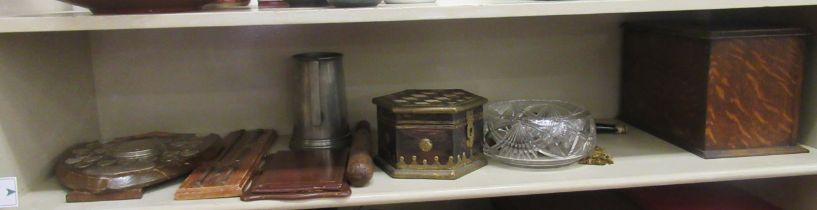 """A mixed lot: to include a 1920s oak desktop stationary box 10""""w; a Sellotape Club Inter-"""