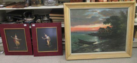 "K * Enrique - an Asian coastline at dusk oil on canvas bears a signature & dated 1956 23"" x"