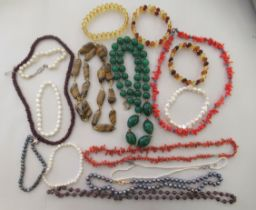 Costume jewellery: to include freshwater pearl necklaces and a simulated coral necklaces