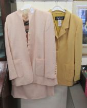 Louis Feraud fashion: to include a pink woollen two piece suit size 18; and a yellow woollen suit