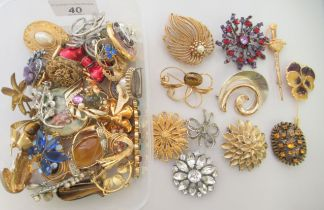 Costume jewellery, mainly brooches