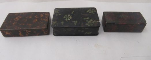 Three similar 19thC painted papier mache snuff boxes of rectangular form with hinged lids