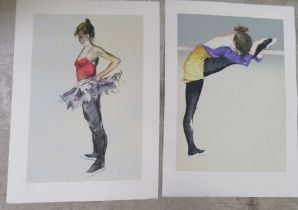 I Vasey - Ballerinas two Limited Edition 16/150 & 16/295 coloured prints bearing a blindstamps &