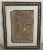 """20thC Arab School - 'Birds and text' mixed media on stained paper 8"""" x 13"""" framed"""