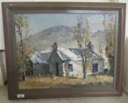 Brian Halliday - two cottages in a landscape with mountains beyond oil on canvas bears a signature