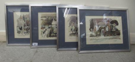 """Four 1983 Graham Clarke coloured prints 11.5"""" x 8"""" framed"""