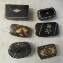 Six black lacquered and variously decorated, 19thC papier mache snuff boxes