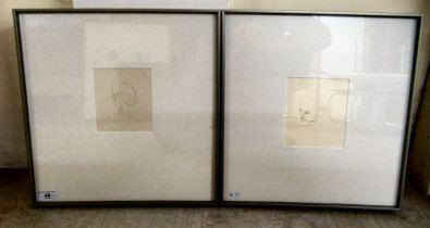 """Catherine Watson - 'Stone' and 'Pith' pen on paper bears a text verso & dated 2014 5.5"""" x 4.5"""""""