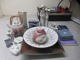 Decorative ceramics: to include a modern Chinese porcelain teapot with a double woven cane handle