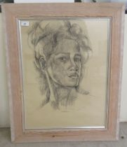 """Gallian - a portrait of a young woman charcoal on paper bears a signature & dated '91 17"""" x"""