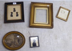 """Pictures: to include an early 19thC triple silhouette study of three young girls 7"""" x 6"""" framed"""