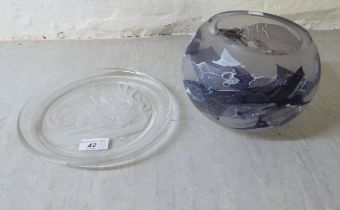 """A Jane Charles vase bears an etched signature 5""""h; and a Michael Yates Angelica pattern plate 9"""""""