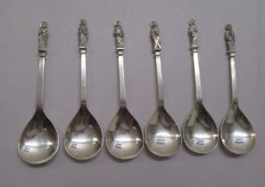 A set of six silver apostle spoons mixed Birmingham marks