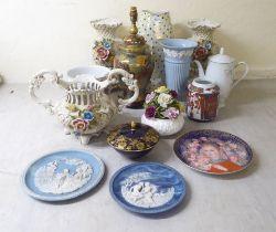 Decorative ceramics: to include a Noritake porcelain First Blush pattern coffee pot