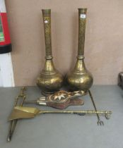 """Metalware: to include a pair of Persian brass vases, engraved with flora 26""""h"""