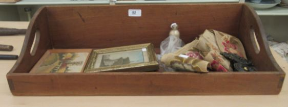 """A mixed lot: to include a Victorian sand picture 'Freshwater Cliffs IOW 1852' 4.5"""" x 3.25"""" framed"""