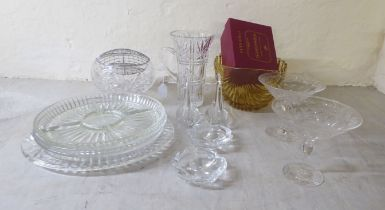 """Glass tableware: to include an hor d'oeuvre dish 11""""dia; and a cut crystal jug"""
