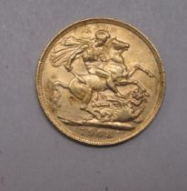 An Edwardian sovereign, St George on the obverse 1908