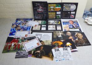 Mixed sporting ephemera, football, F1 and music related: to include reproduced photographic