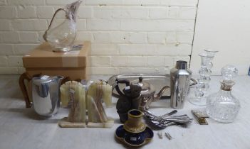 A mixed lot: to include a modern glass decanter with a silver collar Birmingham 1969