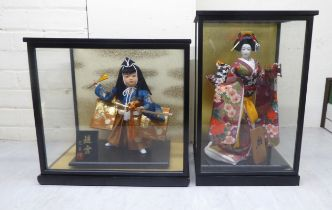 """Two modern Japanese figures, wearing traditional fabric robes 12""""h in partially glazed display"""