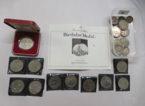Uncollated British pre-decimal coins: to include 1960s Churchill Crowns; and a silver proof coin for